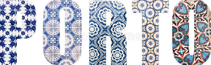 Lettere di Oporto riempite di mattonelle portoghesi immagine stock