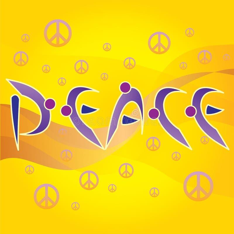 Lettere di pace e simboli di amore e di pace illustrazione vettoriale