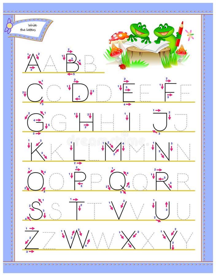 Lettere di rintracciamento di ABC per l'alfabeto inglese di studio Foglio di lavoro per i bambini Pagina di istruzione per l'asil illustrazione vettoriale