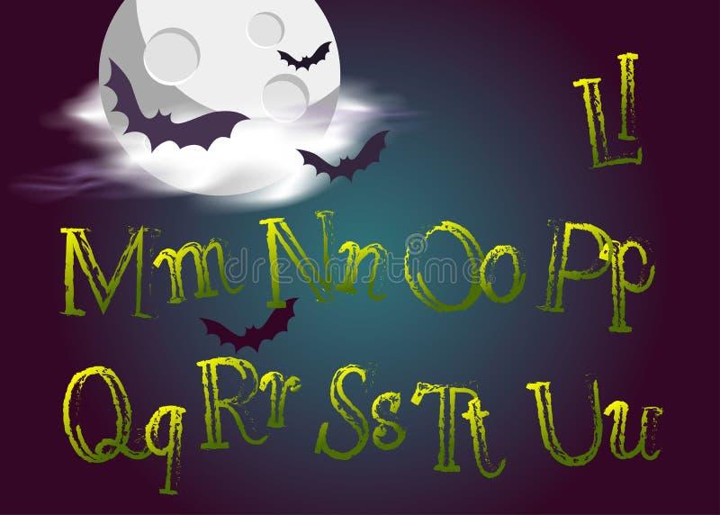 Lettere di salto di Halloween Il vettore diabolico scrive dentro lo stile a macchina gotico per royalty illustrazione gratis