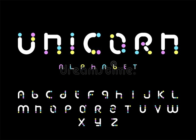 Lettere divertenti e sveglie di alfabeto dell'unicorno, della fonte dell'arcobaleno, illustrazione di vettore immagine stock