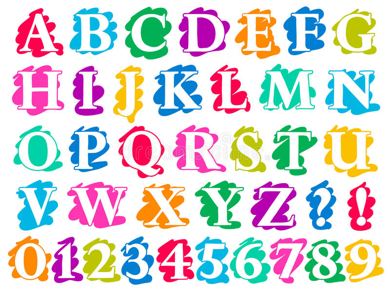 Lettere e cifre di alfabeto della spruzzata di scarabocchio di colore illustrazione di stock