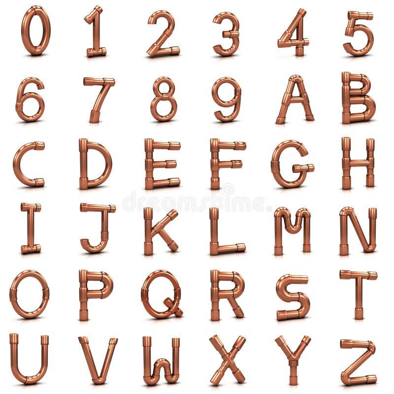 lettere e numeri del tubo del rame 3d illustrazione vettoriale