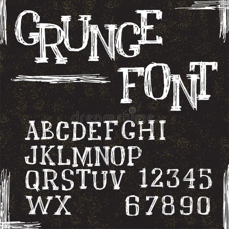 Lettere e numeri di alfabeto di lerciume Vettore illustrazione di stock