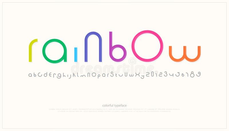 Lettere e numeri rotondi di alfabeto di stile vettore, tipo di carattere minimalistic illustrazione vettoriale