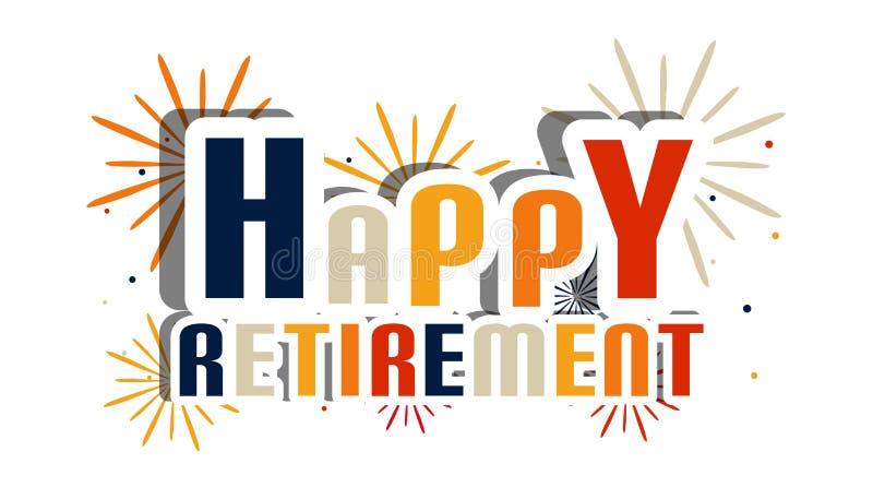 Lettere felici di pensionamento con i fuochi d'artificio e l'ombra - illustrazione di vettore - isolati su fondo bianco royalty illustrazione gratis
