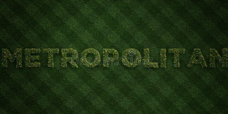 - Lettere fresche dell'erba con i fiori ed i denti di leone - 3D METROPOLITANO ha reso l'immagine di riserva libera della sovrani royalty illustrazione gratis