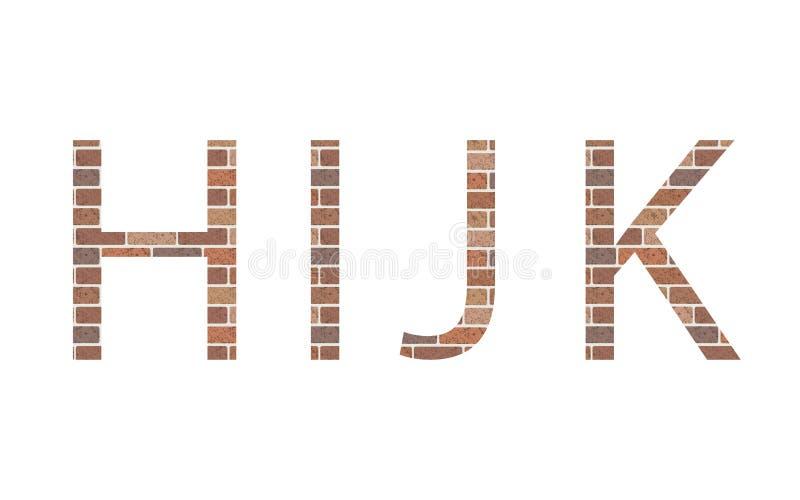 Lettere HIJK in mattoni illustrazione di stock