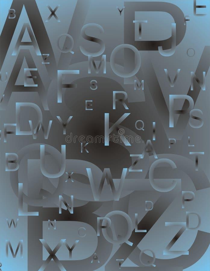 Lettere impostate blu illustrazione di stock