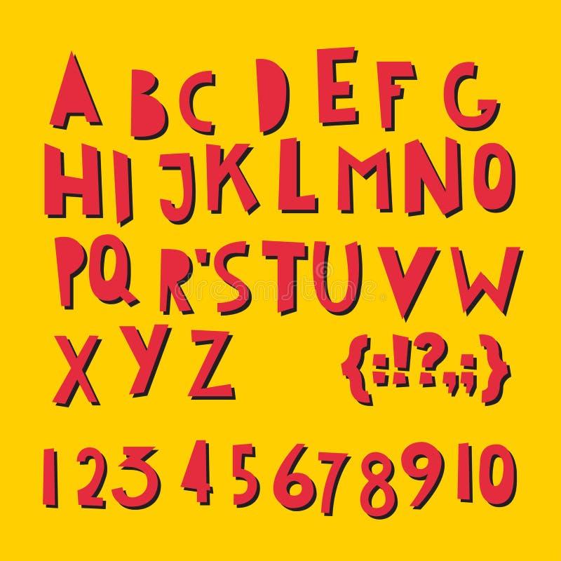 Lettere latine e numeri di ABC illustrazione vettoriale