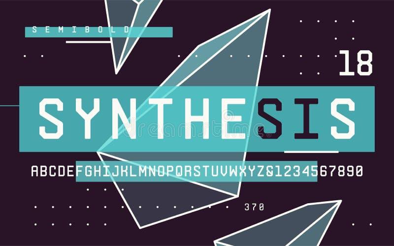 Lettere maiuscole dei caratteri tipografici con grazie semi-grassetti di san di tecnologia e numeri, alpe illustrazione vettoriale