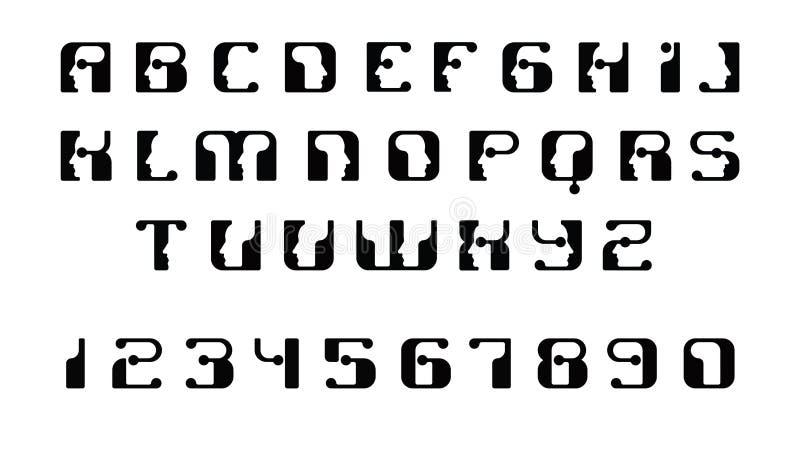 Lettere maiuscole della fonte inglese Logo - visi umani dei robot del cyborg, per il tema del computer, la scienza ecc, retro sti illustrazione vettoriale