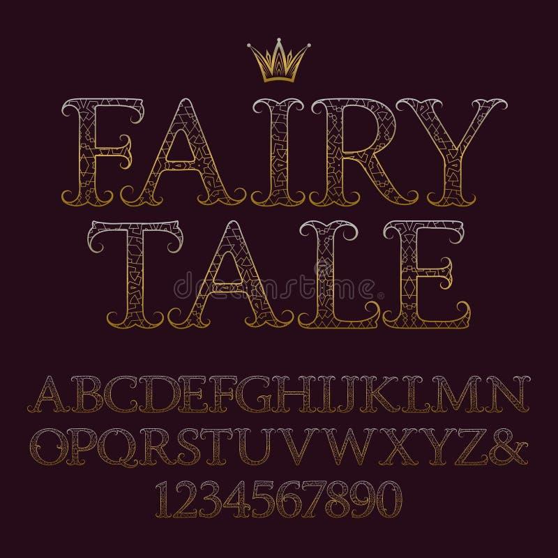 Lettere maiuscole e numeri modellati dorati Fonte d'annata decorativa Alfabeto inglese isolato con la fiaba del testo illustrazione vettoriale