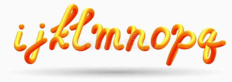 Lettere mescolate lucide dell'iscrizione arancio creativa di alfabeto fonte della bolla 3D royalty illustrazione gratis