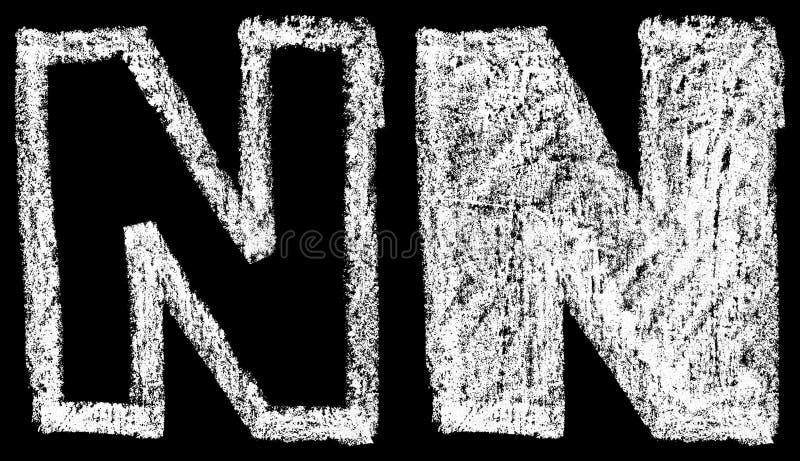 Lettere N inglesi del gesso bianco scritto a mano isolate sulla parte posteriore del nero illustrazione vettoriale