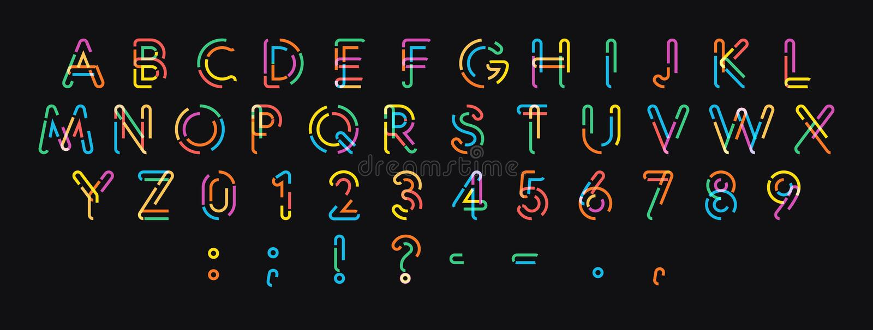 Lettere, numeri e segni di vettore dalla linea colorata punteggiata Progettazione moderna d'avanguardia di alfabeto per bella pro royalty illustrazione gratis