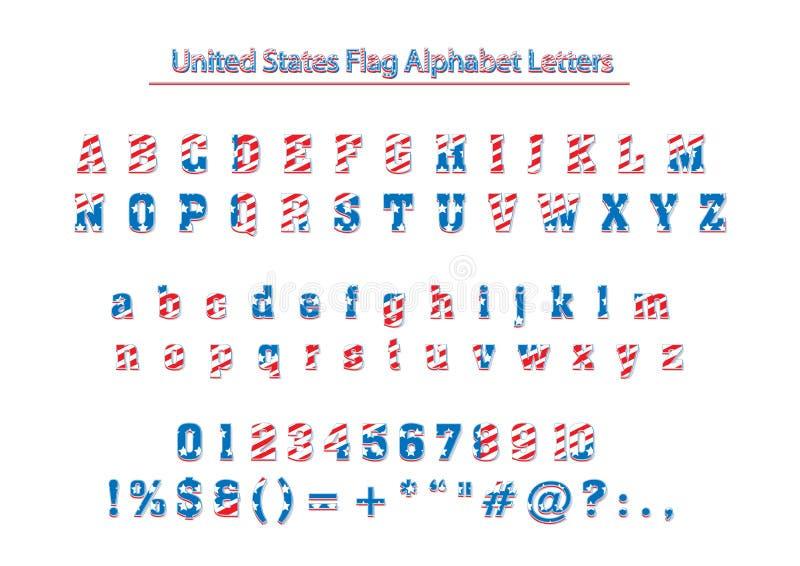 Lettere patriottiche di alfabeto di vettore della bandiera di U.S.A. America royalty illustrazione gratis