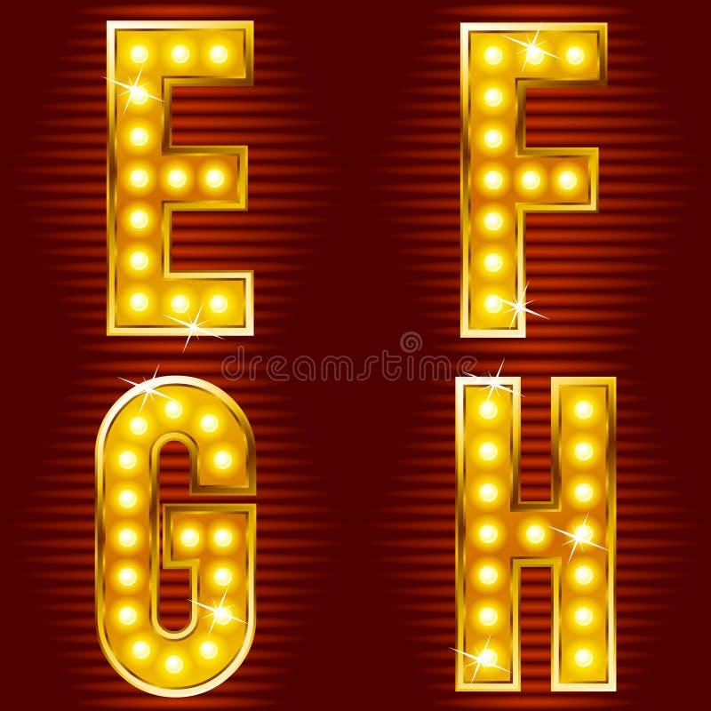 Lettere per i segni con le lampade illustrazione vettoriale