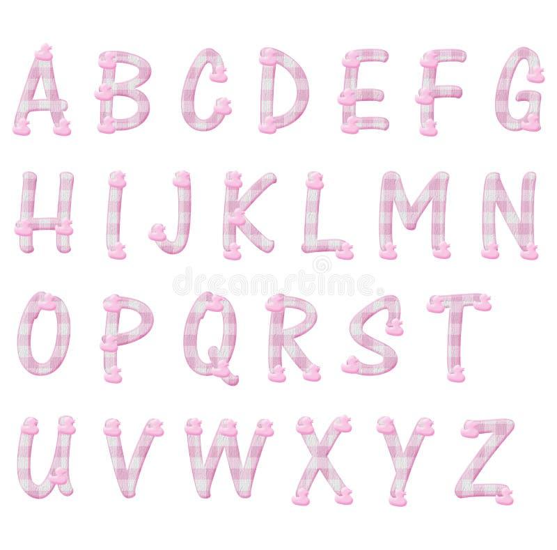Lettere rosa di alfabeto delle anatre e del percalle fotografie stock