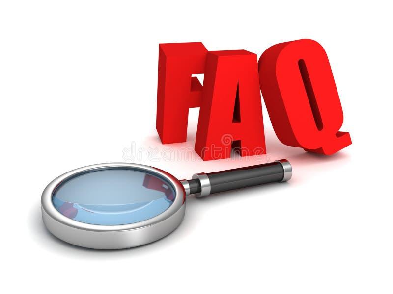 Lettere rosse del FAQ con il vetro della lente illustrazione vettoriale