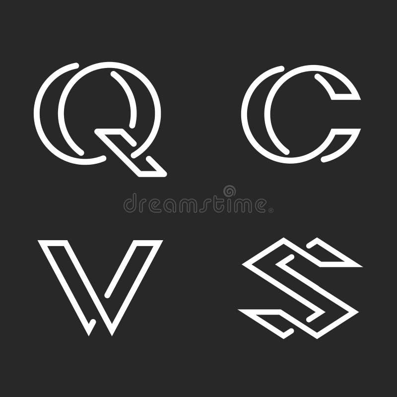 Lettere S stabilite, C, Q, modello del logos del monogramma di V, emblema minimo creativo di stile dei pantaloni a vita bassa di  illustrazione vettoriale