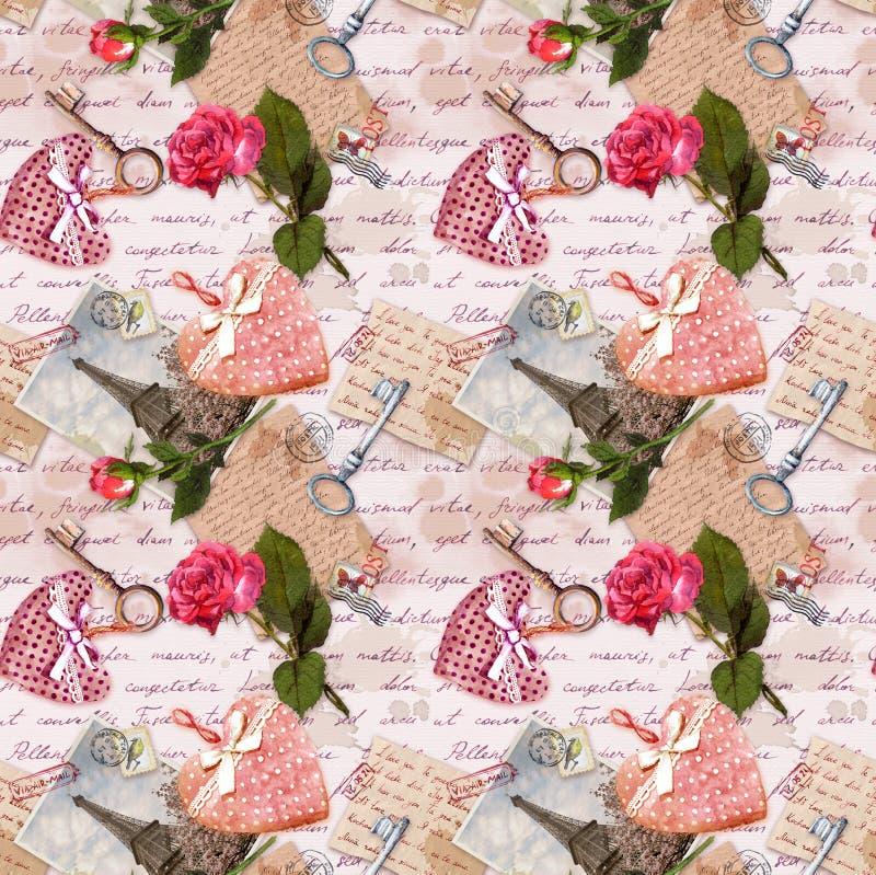 Lettere scritte a mano, foto d'annata della torre Eiffel, cuori, fiori rosa, bolli, chiavi Ripetizione del fondo, amore royalty illustrazione gratis