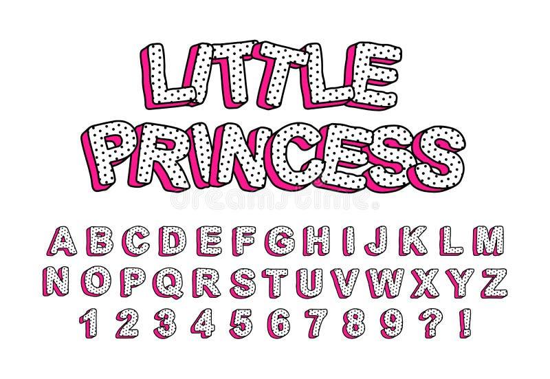 lettere sveglie dei bambini 3D con ombra rosa illustrazione di stock