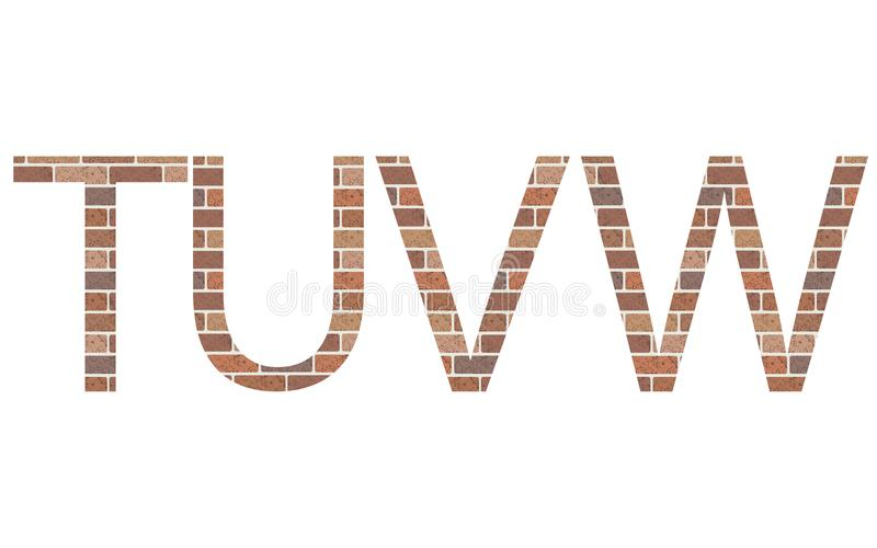 Lettere TUVW in mattoni illustrazione vettoriale