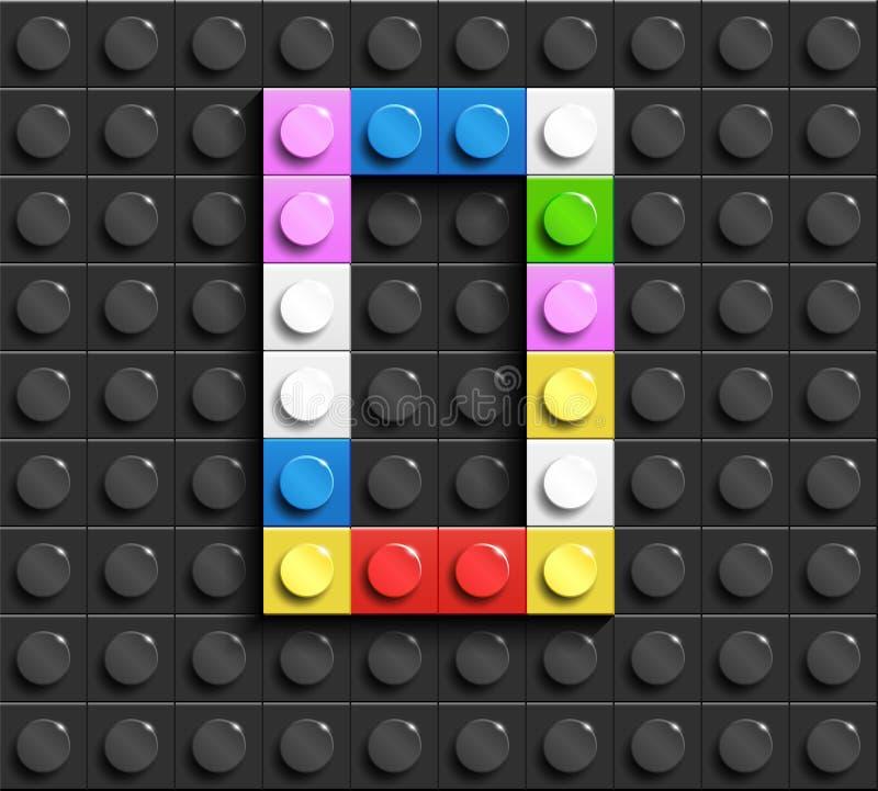 Lettere variopinte O dell'alfabeto dai mattoni di lego della costruzione sul fondo nero del mattone di lego fondo di lego lettere illustrazione vettoriale