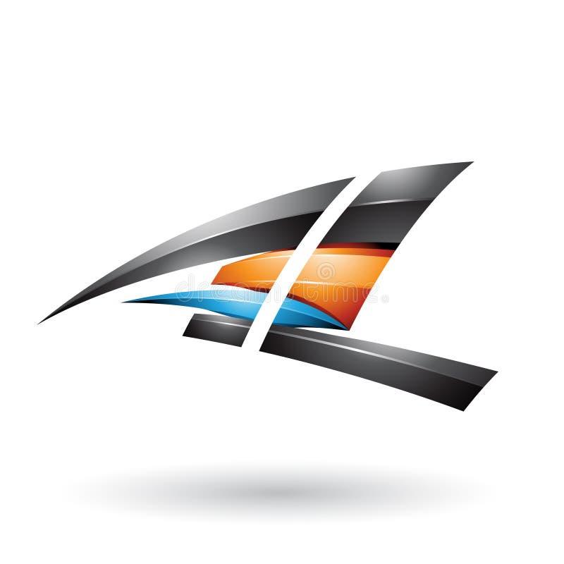 Lettere volanti lucide dinamiche nere ed arancio A e L isolati su un fondo bianco royalty illustrazione gratis