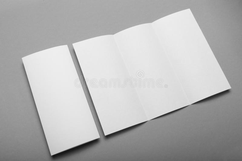 Letterhead blank mockup, trifold leaflet DL flyer template.  royalty free stock photos