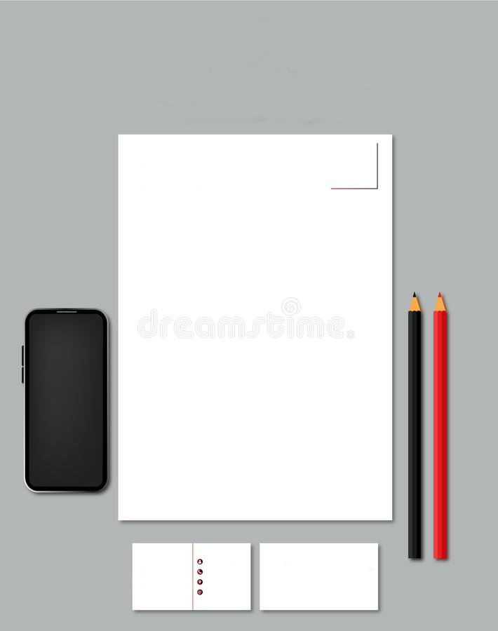 Letterhead mockup dla ogólnospołecznych środków Logo+Business jucznej karty lub szablon ilustracja wektor