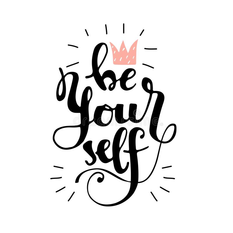 Lettering be yourself with doodle crown royalty free illustration