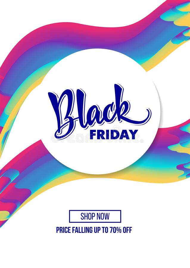 Lettering Black friday on the circle white blank and bright neon vector illustration