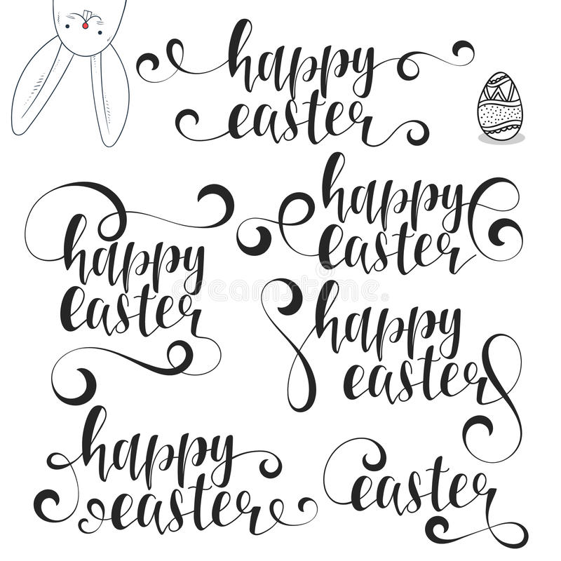 Lettering calligraphy set happy easter calligraphic