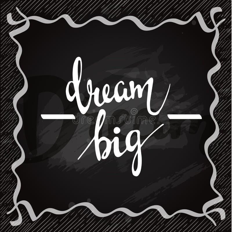 Lettering on chalkboard. Dream big card vector illustration