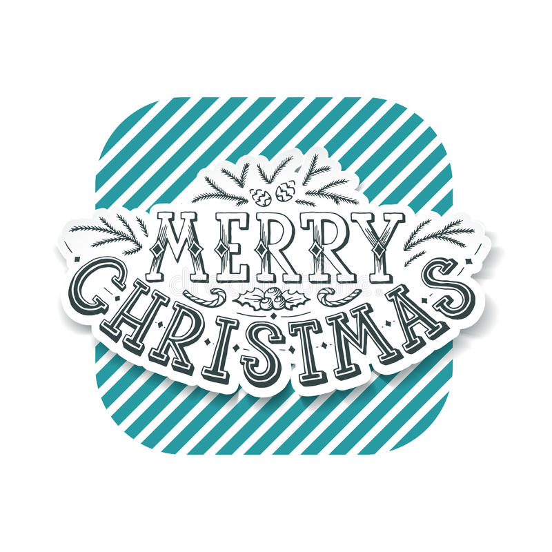 Lettering Christmas design, hand written postcard. Lettering Christmas design, hand written greeting card in retro style, words 'Merry Christmas royalty free illustration