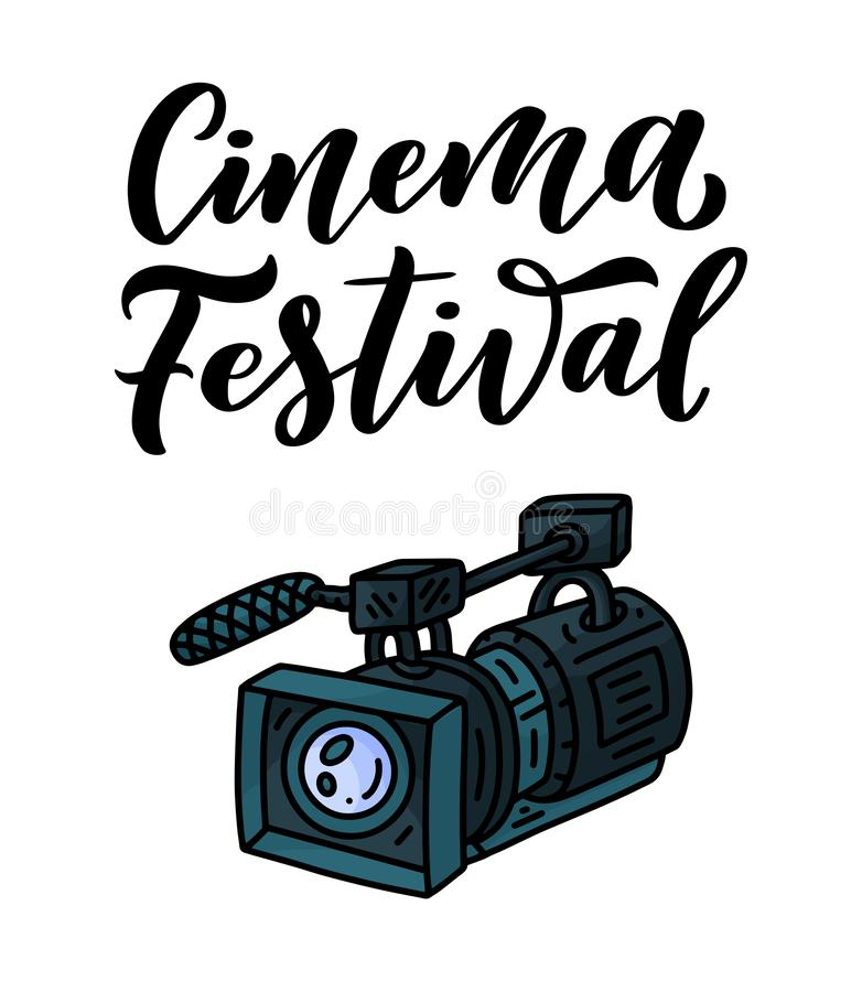 Lettering - Cinema Festival and video camera icon in doodle style. Photography and movie symbol. Hand drawn element. Vector stock illustration