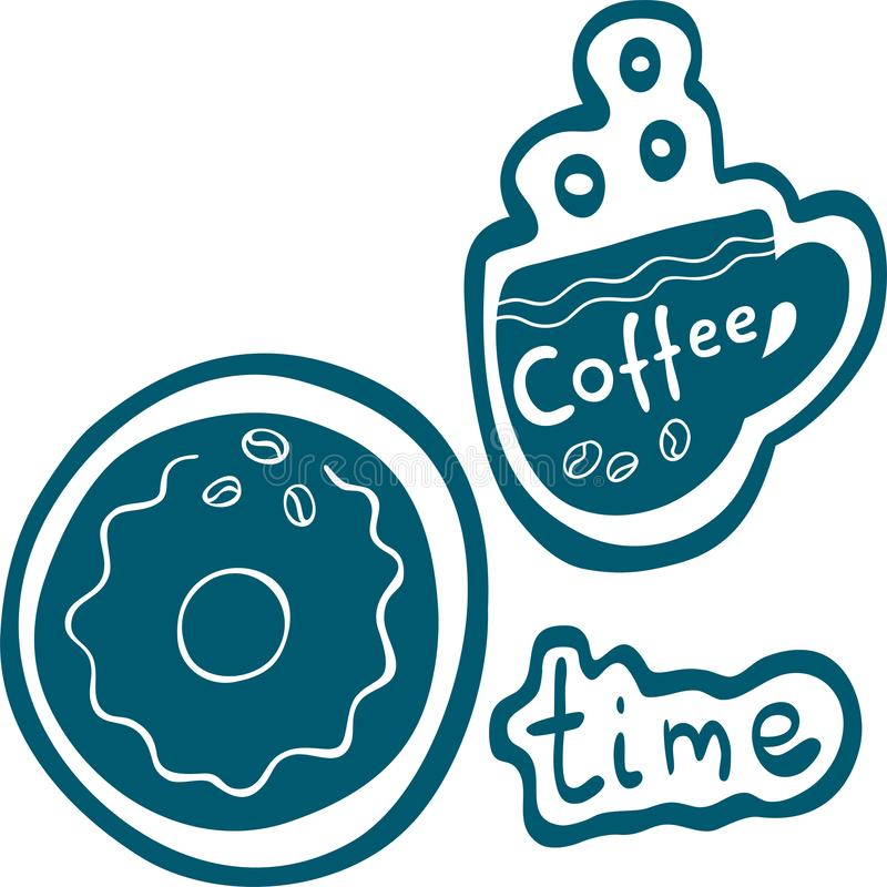Lettering coffe time on cup. Hand drawn style vector illustration. Lettering coffe time on cup with outline Hand drawn style vector illustration vector illustration