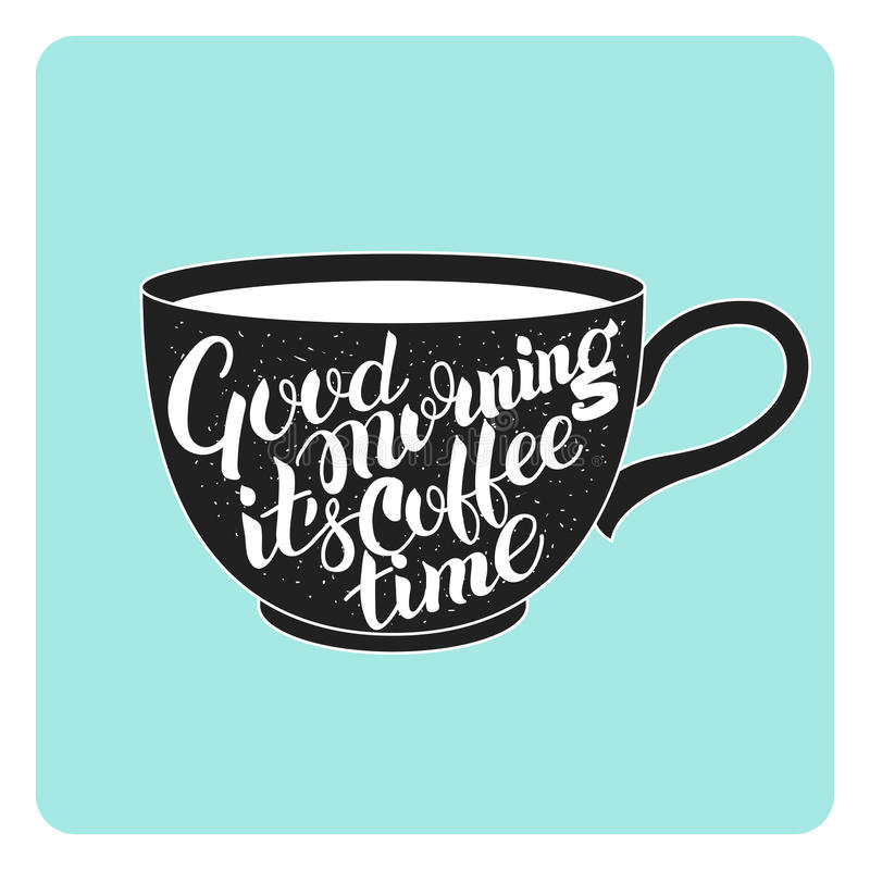 Lettering on the coffee cup stock photos