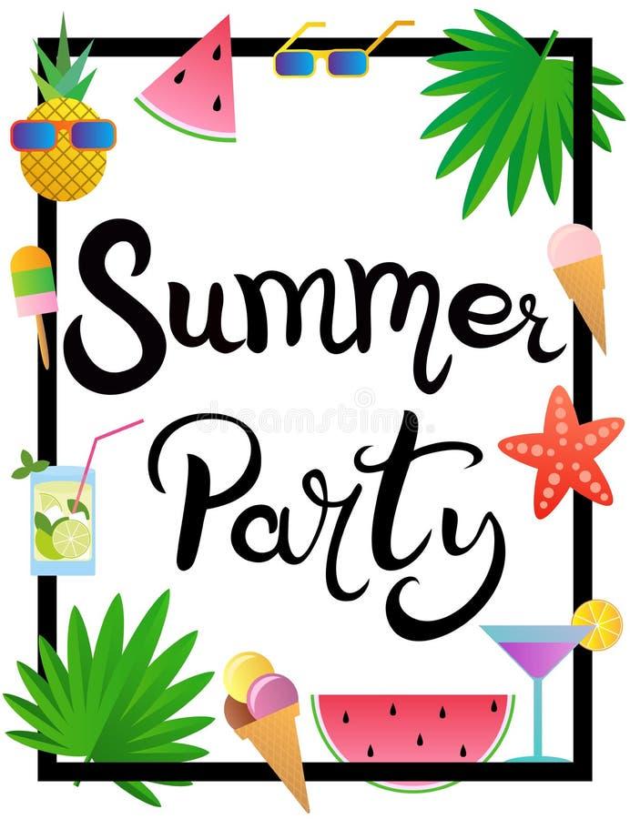 lettering De zomerpartij Kader met watermeloen, ananas, roomijs, glazen, cocktail, zeester en palmbladen wordt verfraaid dat vector illustratie