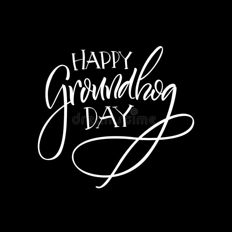 lettering Dia de Groundhog ilustração stock