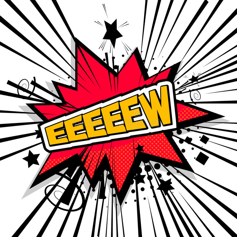 Lettering eeew, disgust comic text sound. Lettering eeew, disgust. Comic text sound effects. Bubble icon speech phrase. Cartoon exclusive font label tag stock illustration