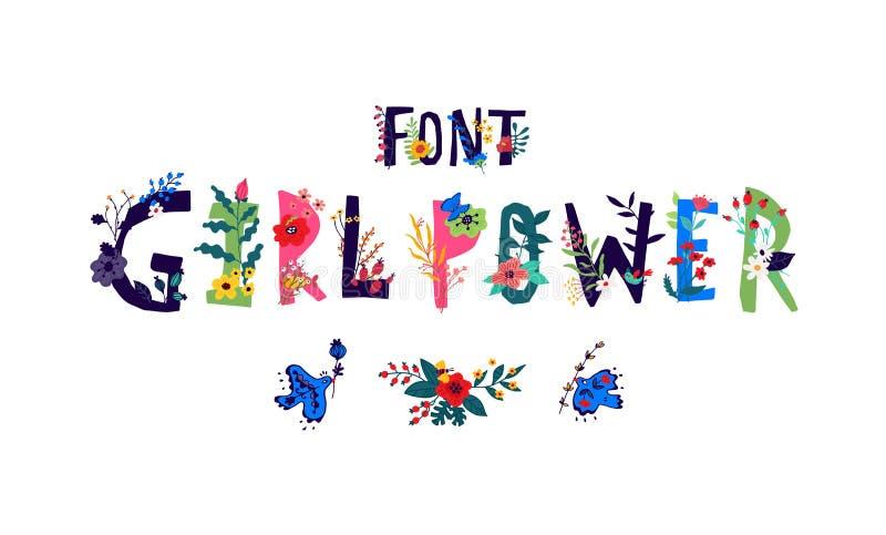 Lettering font Girl Power. Vector. Logo in flowers and plants. Company logo or flower shop. Sore logo vector illustration