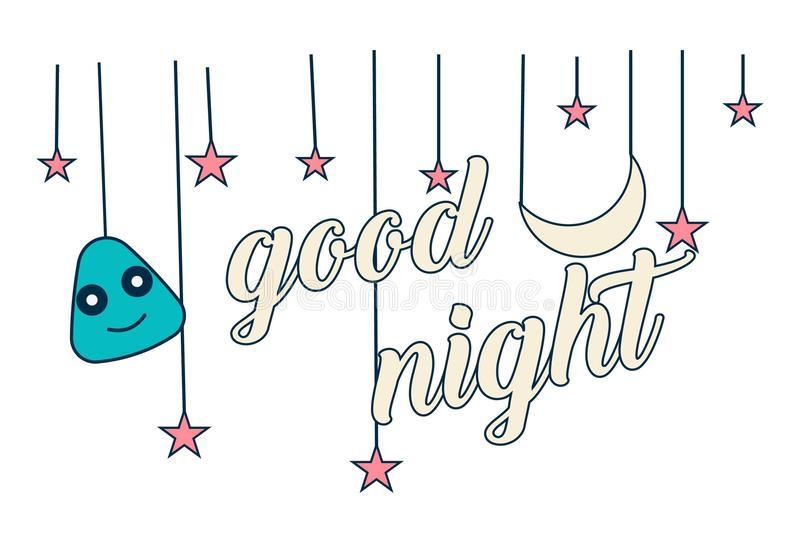 Vector Cartoon Illustration Of Lettering Good Night. Lettering good night. Vector illustration of star, moon and smiley face. Isolated on white background vector illustration