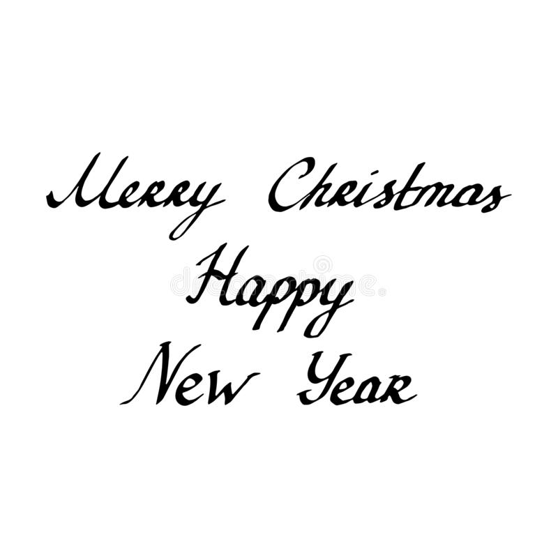 Ink Pen letters Merry Christmas, Happy New Year isolated on white background. Vector illustration vector illustration