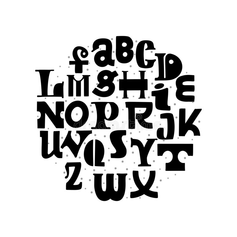Lettering handmade font. Decorative alphabet black color for the design of posters, write postcards and slogans, playful stock illustration