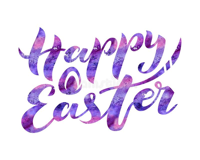 Lettering Happy Easter. Watercolor texture. Modern brush calligraphy text. stock illustration