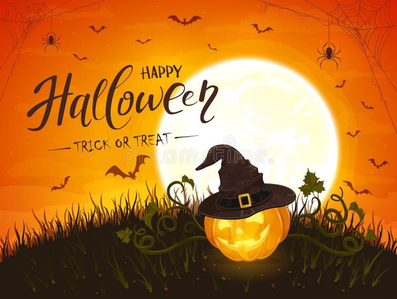 Halloween Pumpkin with Hat on Moon Background vector illustration