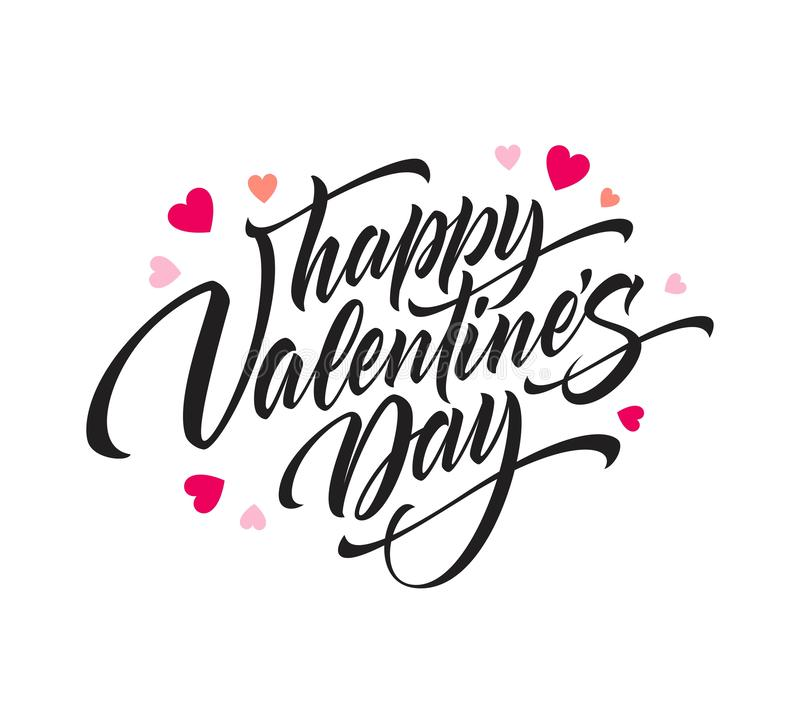 Lettering Happy Valentines Day. Greeting card template with typography text . Vector illustration. EPS10 vector illustration